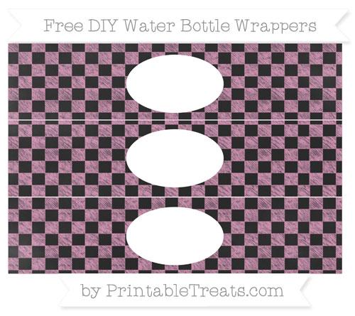 Free Pastel Bubblegum Pink Checker Pattern Chalk Style DIY Water Bottle Wrappers