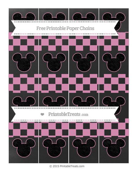 Free Pastel Bubblegum Pink Checker Pattern Chalk Style Mickey Mouse Paper Chains