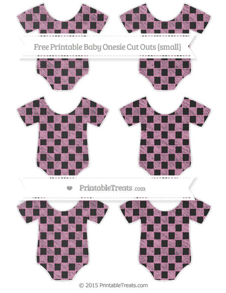 Free Pastel Bubblegum Pink Checker Pattern Chalk Style Small Baby Onesie Cut Outs
