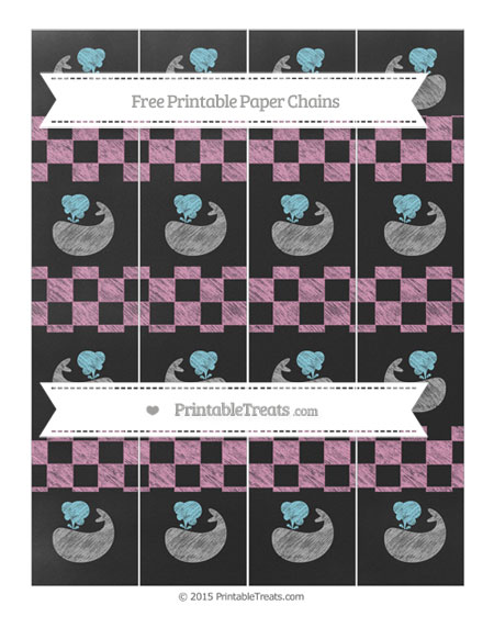 Free Pastel Bubblegum Pink Checker Pattern Chalk Style Whale Paper Chains