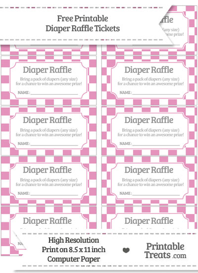 Free Pastel Bubblegum Pink Checker Pattern Diaper Raffle Tickets