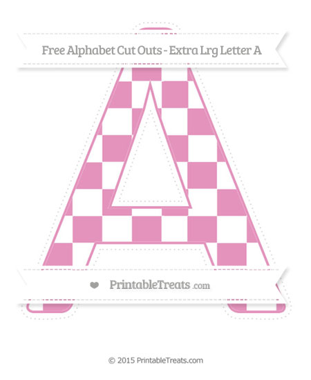 Free Pastel Bubblegum Pink Checker Pattern Extra Large Capital Letter A Cut Outs