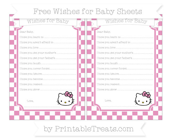 Free Pastel Bubblegum Pink Checker Pattern Hello Kitty Wishes for Baby Sheets