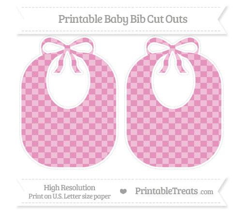 Free Pastel Bubblegum Pink Checker Pattern Large Baby Bib Cut Outs