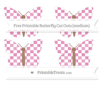 Free Pastel Bubblegum Pink Checker Pattern Medium Butterfly Cut Outs