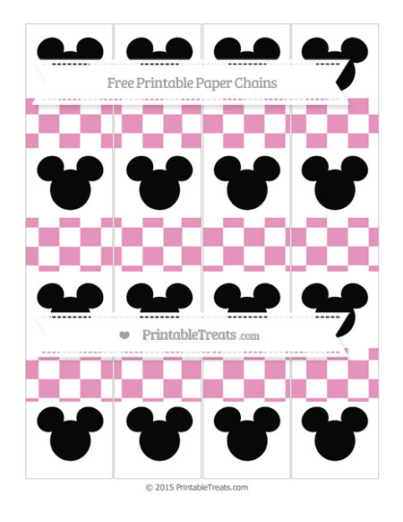 Free Pastel Bubblegum Pink Checker Pattern Mickey Mouse Paper Chains