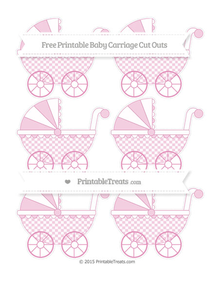 Free Pastel Bubblegum Pink Checker Pattern Small Baby Carriage Cut Outs