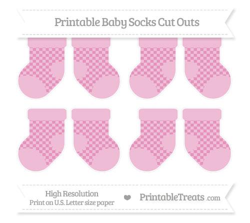 Free Pastel Bubblegum Pink Checker Pattern Small Baby Socks Cut Outs