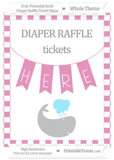 Free Pastel Bubblegum Pink Checker Pattern Whale 8x10 Diaper Raffle Ticket Sign