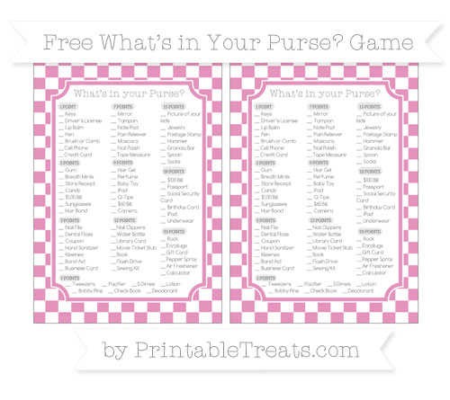 Free Pastel Bubblegum Pink Checker Pattern What's in Your Purse Baby Shower Game