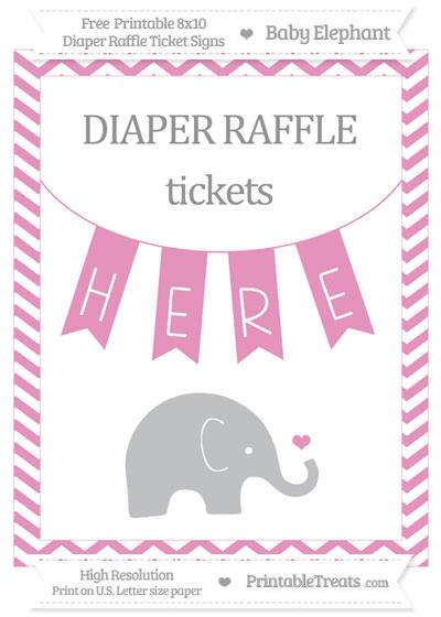 Free Pastel Bubblegum Pink Chevron Baby Elephant 8x10 Diaper Raffle Ticket Sign