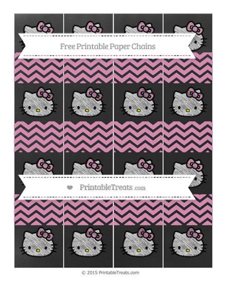 Free Pastel Bubblegum Pink Chevron Chalk Style Hello Kitty Paper Chains