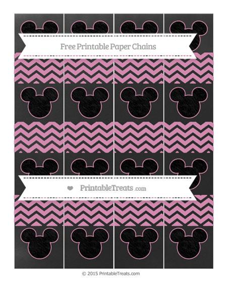 Free Pastel Bubblegum Pink Chevron Chalk Style Mickey Mouse Paper Chains