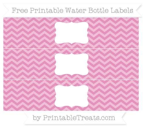 Free Pastel Bubblegum Pink Chevron Water Bottle Labels