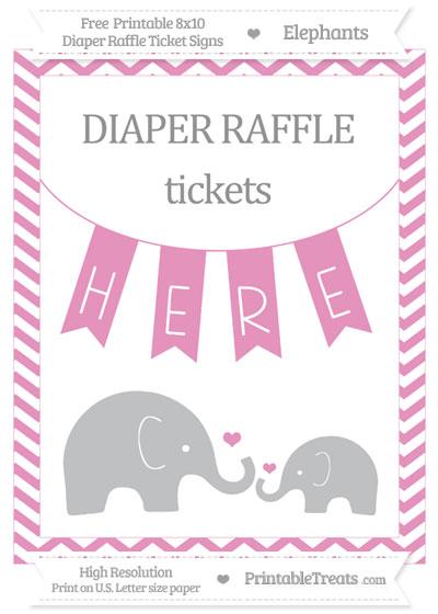 Free Pastel Bubblegum Pink Chevron Elephant 8x10 Diaper Raffle Ticket Sign