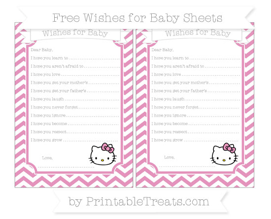 Free Pastel Bubblegum Pink Chevron Hello Kitty Wishes for Baby Sheets