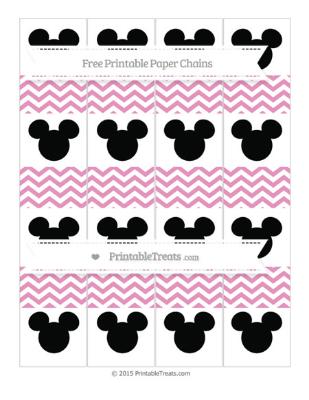 Free Pastel Bubblegum Pink Chevron Mickey Mouse Paper Chains
