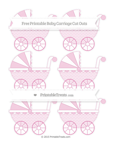 Free Pastel Bubblegum Pink Chevron Small Baby Carriage Cut Outs