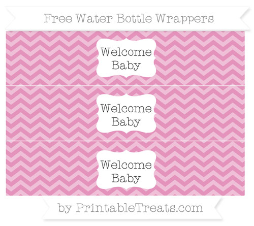 Free Pastel Bubblegum Pink Chevron Welcome Baby Water Bottle Wrappers
