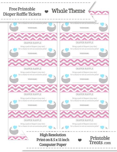 Free Pastel Bubblegum Pink Chevron Whale Diaper Raffle Tickets