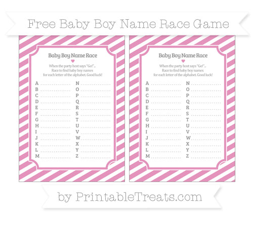 Free Pastel Bubblegum Pink Diagonal Striped Baby Boy Name Race Game