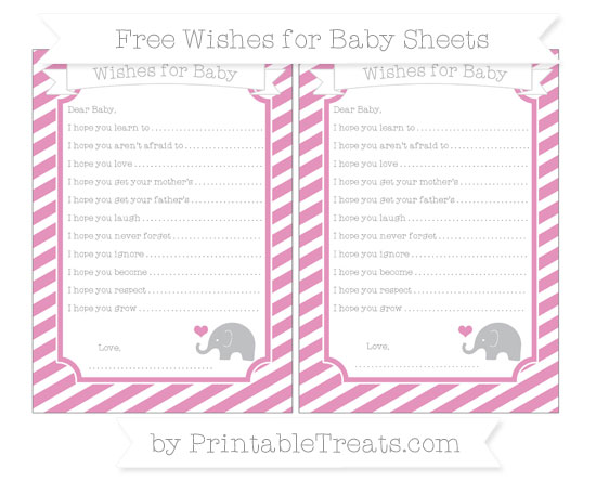 Free Pastel Bubblegum Pink Diagonal Striped Baby Elephant Wishes for Baby Sheets