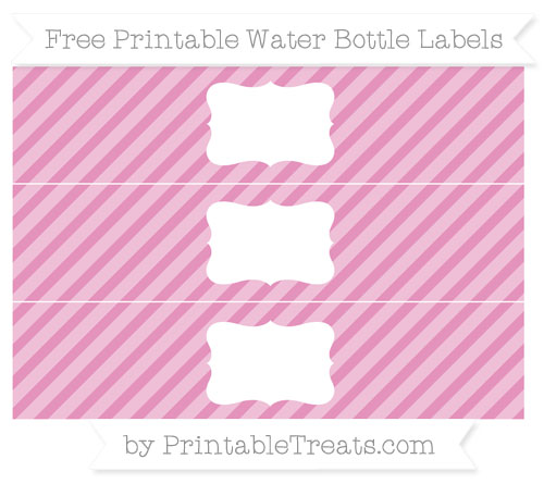 Free Pastel Bubblegum Pink Diagonal Striped Water Bottle Labels