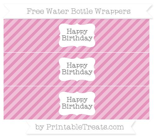 Free Pastel Bubblegum Pink Diagonal Striped Happy Birhtday Water Bottle Wrappers