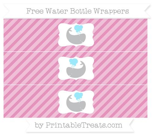 Free Pastel Bubblegum Pink Diagonal Striped Whale Water Bottle Wrappers
