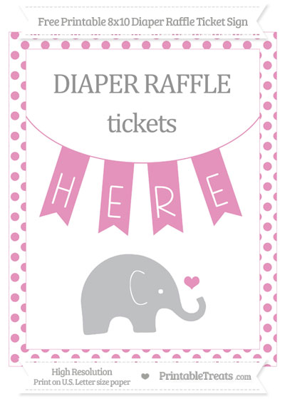Free Pastel Bubblegum Pink Dotted Baby Elephant 8x10 Diaper Raffle Ticket Sign