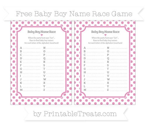 Free Pastel Bubblegum Pink Dotted Pattern Baby Boy Name Race Game