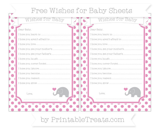 Free Pastel Bubblegum Pink Dotted Pattern Baby Elephant Wishes for Baby Sheets