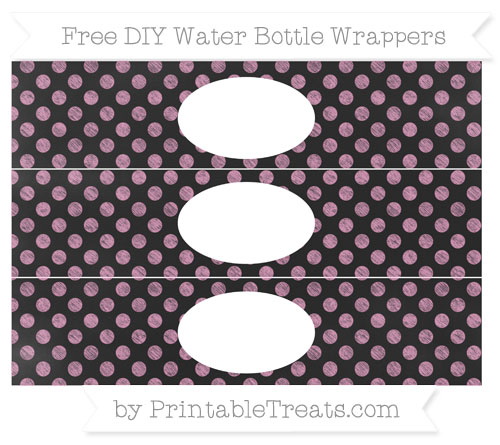 Free Pastel Bubblegum Pink Dotted Pattern Chalk Style DIY Water Bottle Wrappers