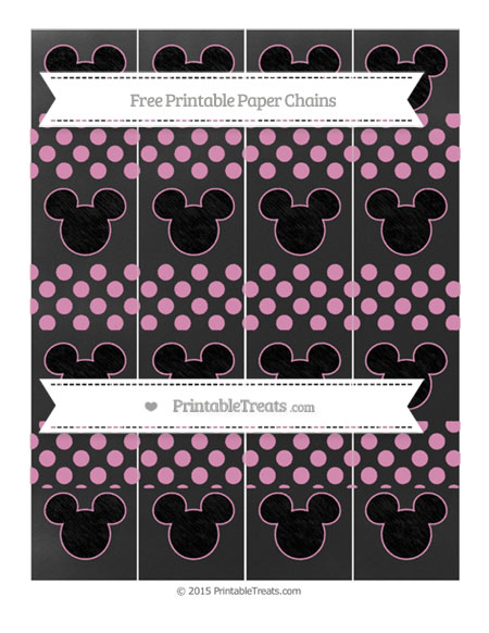 Free Pastel Bubblegum Pink Dotted Pattern Chalk Style Mickey Mouse Paper Chains