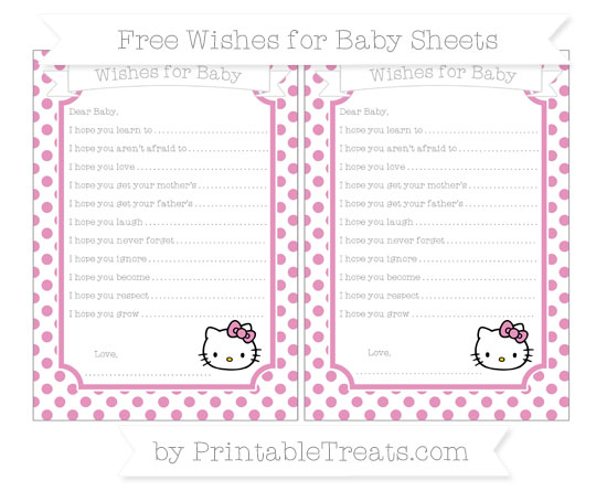 Free Pastel Bubblegum Pink Dotted Pattern Hello Kitty Wishes for Baby Sheets