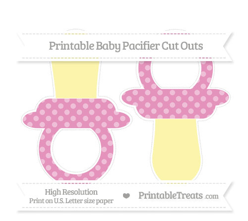 Free Pastel Bubblegum Pink Dotted Pattern Large Baby Pacifier Cut Outs