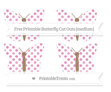 Free Pastel Bubblegum Pink Dotted Pattern Medium Butterfly Cut Outs