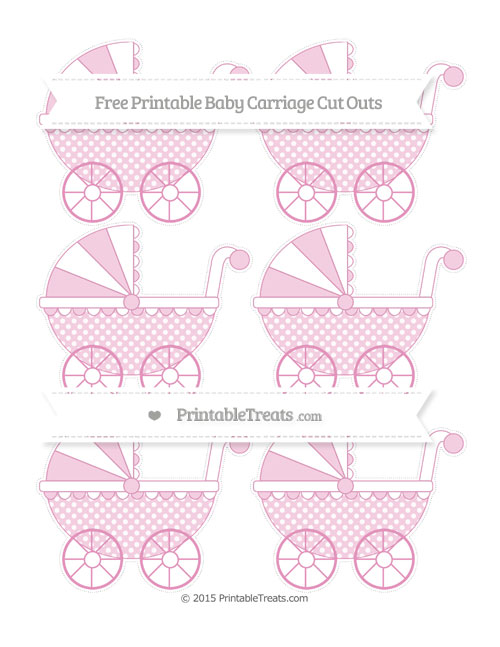 Free Pastel Bubblegum Pink Dotted Pattern Small Baby Carriage Cut Outs