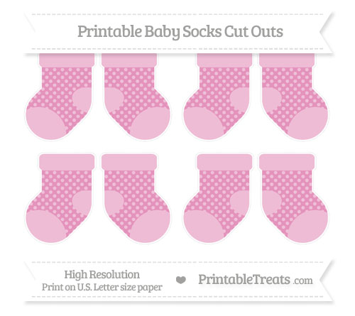 Free Pastel Bubblegum Pink Dotted Pattern Small Baby Socks Cut Outs