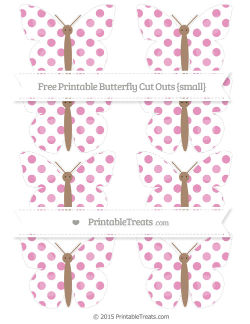 Free Pastel Bubblegum Pink Dotted Pattern Small Butterfly Cut Outs