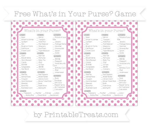 Free Pastel Bubblegum Pink Dotted Pattern What's in Your Purse Baby Shower Game