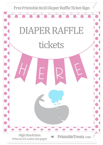 Free Pastel Bubblegum Pink Dotted Whale 8x10 Diaper Raffle Ticket Sign