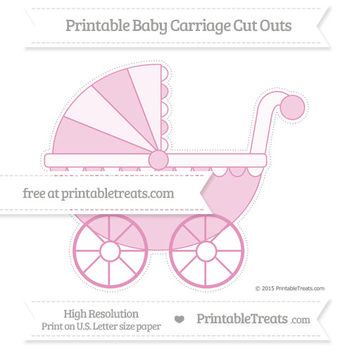 Free Pastel Bubblegum Pink Extra Large Baby Carriage Cut Outs