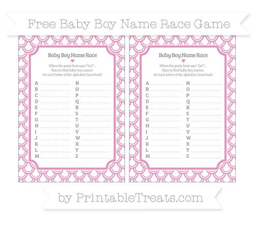 Free Pastel Bubblegum Pink Fish Scale Pattern Baby Boy Name Race Game