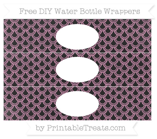 Free Pastel Bubblegum Pink Fish Scale Pattern Chalk Style DIY Water Bottle Wrappers