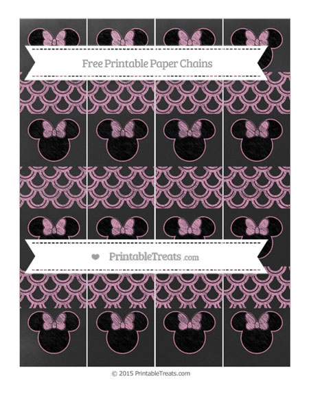 Free Pastel Bubblegum Pink Fish Scale Pattern Chalk Style Minnie Mouse Paper Chains