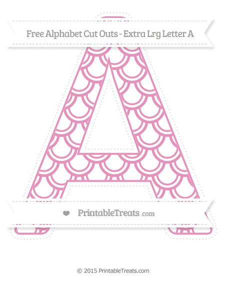 Free Pastel Bubblegum Pink Fish Scale Pattern Extra Large Capital Letter A Cut Outs