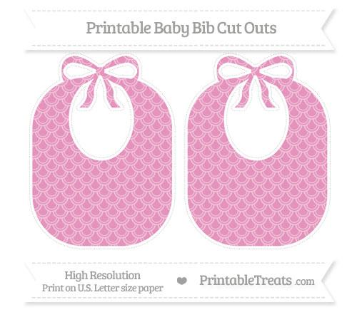 Free Pastel Bubblegum Pink Fish Scale Pattern Large Baby Bib Cut Outs