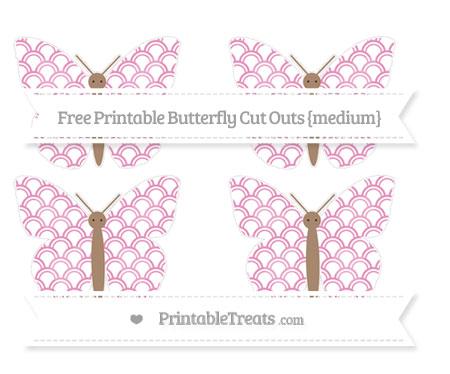 Free Pastel Bubblegum Pink Fish Scale Pattern Medium Butterfly Cut Outs