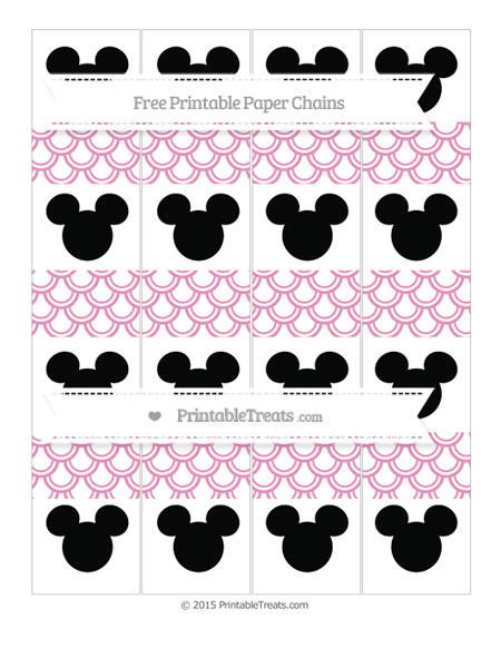 Free Pastel Bubblegum Pink Fish Scale Pattern Mickey Mouse Paper Chains